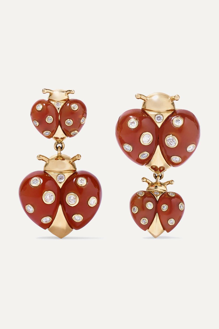 Yvonne Léon Boucles d'oreilles en or 18 carats, agates et diamants