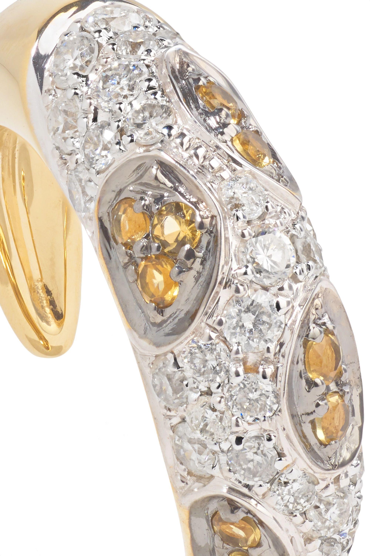 Yvonne Léon Ear Cuff aus 18 Karat Gold mit Diamanten und Citrinen