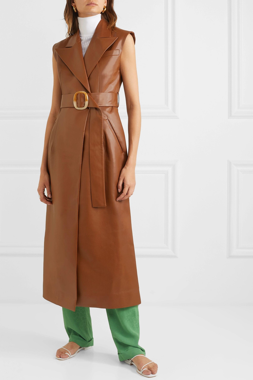 MATERIEL Belted vegan leather dress