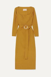 Belted woven midi dress