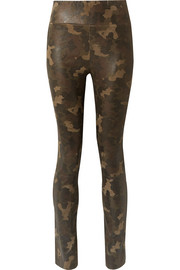 Camouflage-print suede leggings