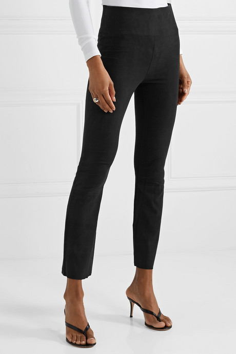 Cropped suede flared pants