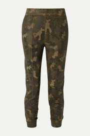 SPRWMN Leather-trimmed camouflage-print suede track pants