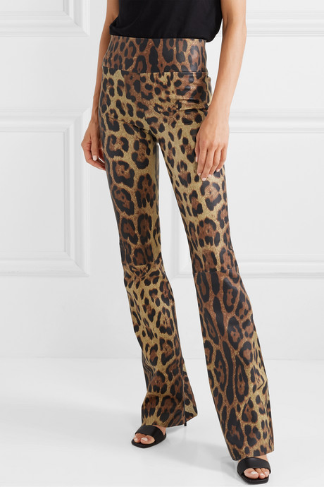 Leopard-print leather flared pants