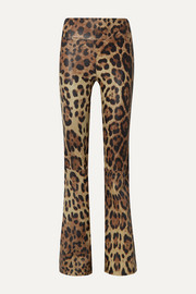 SPRWMN Leopard-print leather flared pants