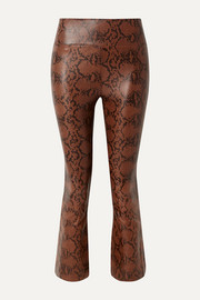 SPRWMN Cropped snake-effect leather flared pants