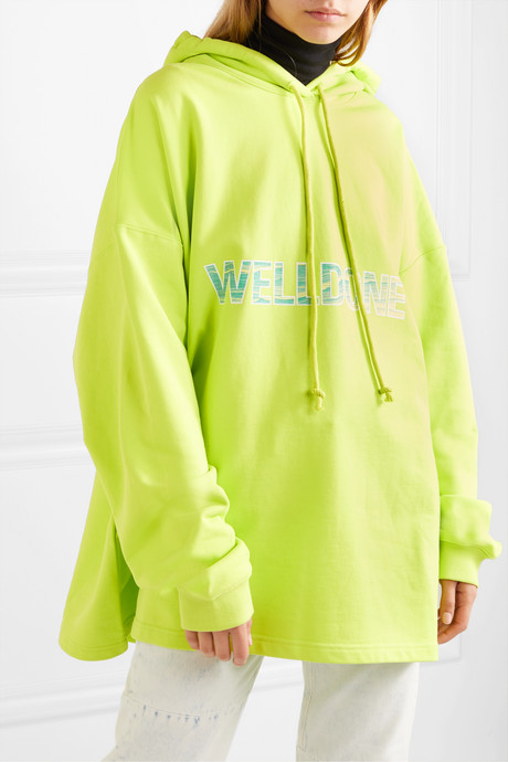 Oversized printed cotton-jersey hoodie