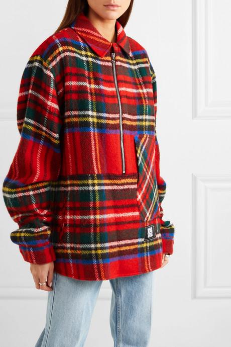 Asymmetric tartan Shetland wool shirt