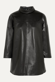 we11done Faux leather turtleneck top