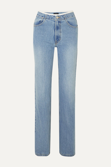 We11 Done Jeans FAUX LEATHER-TRIMMED MID-RISE STRAIGHT-LEG JEANS