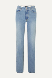 we11done Faux leather-trimmed mid-rise straight-leg jeans