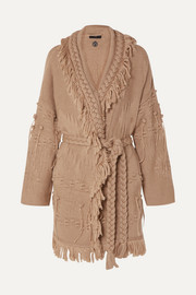 Alanui Fringed wool, silk and cashmere-blend jacquard cardigan