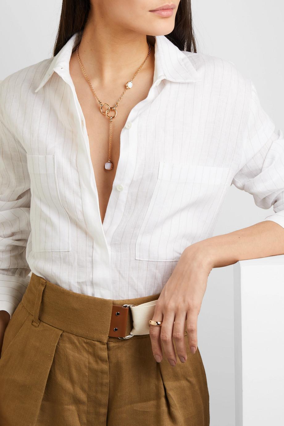 Pomellato 18-karat rose and white gold multi-stone necklace