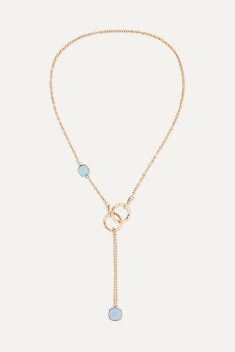 Rose gold Nudo 18-karat white and rose gold, topaz and diamond necklace   Pomellato kqYUJm