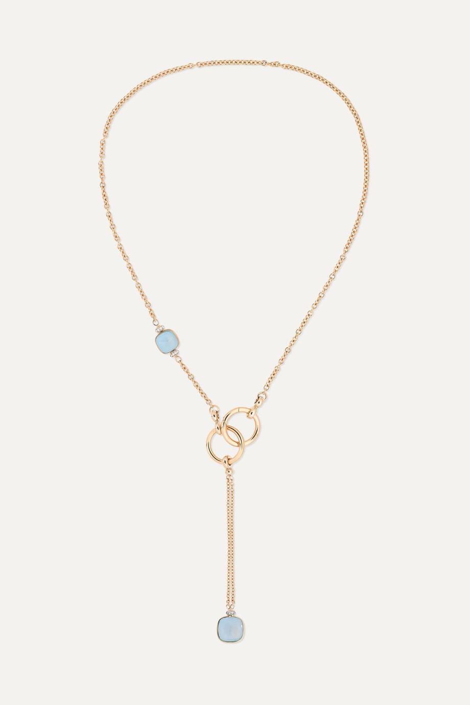 Pomellato Collier en or blanc et rose 18 carats, topazes et diamants Nudo