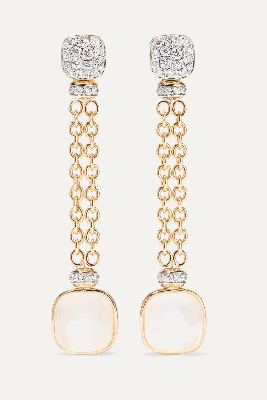 Pomellato 18-karat rose and white gold multi-stone earrings