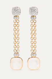 18-karat rose and white gold multi-stone earrings
