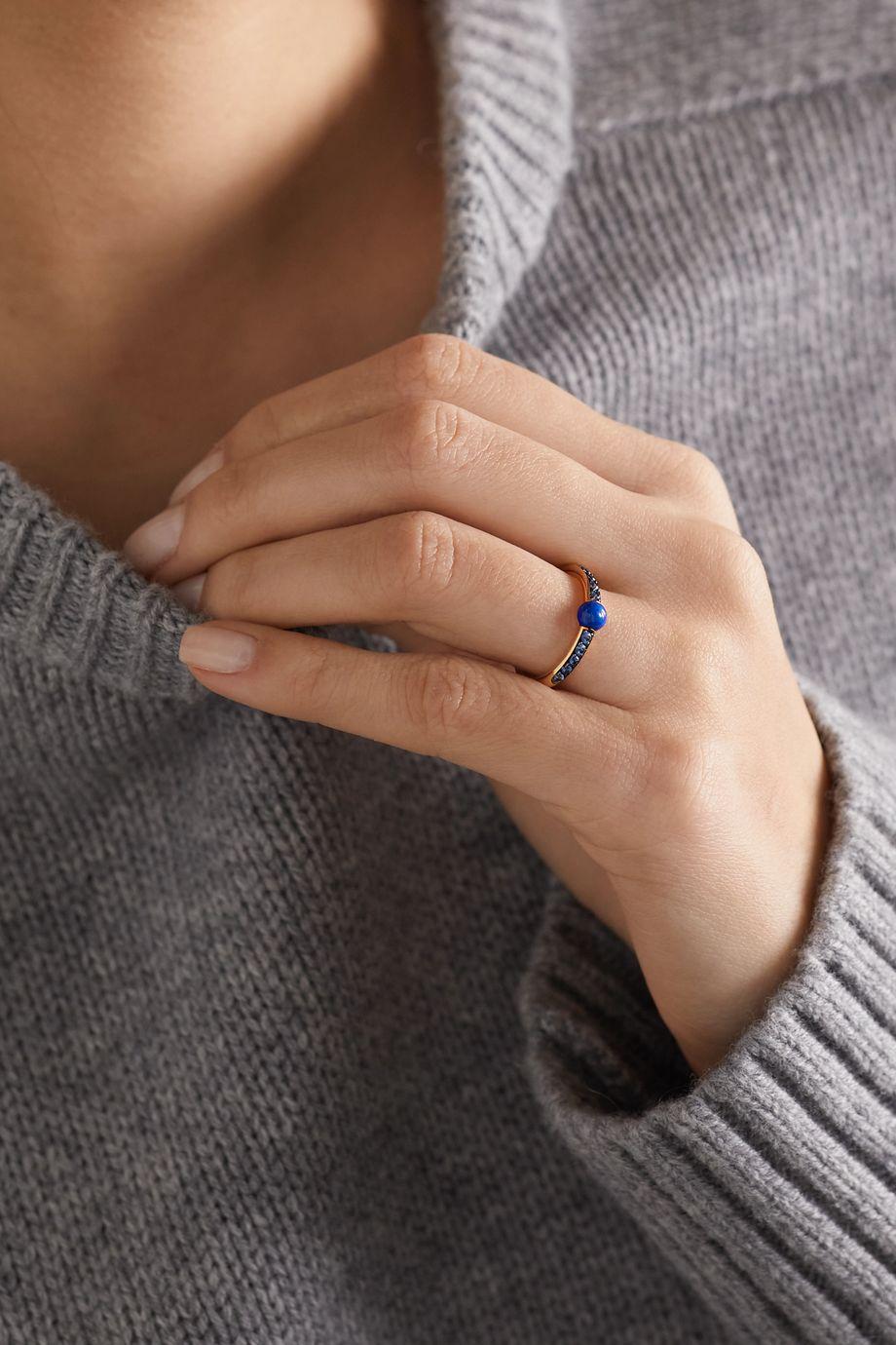 Pomellato M'ama non M'ama 18-karat rose gold, lapis lazuli and sapphire ring