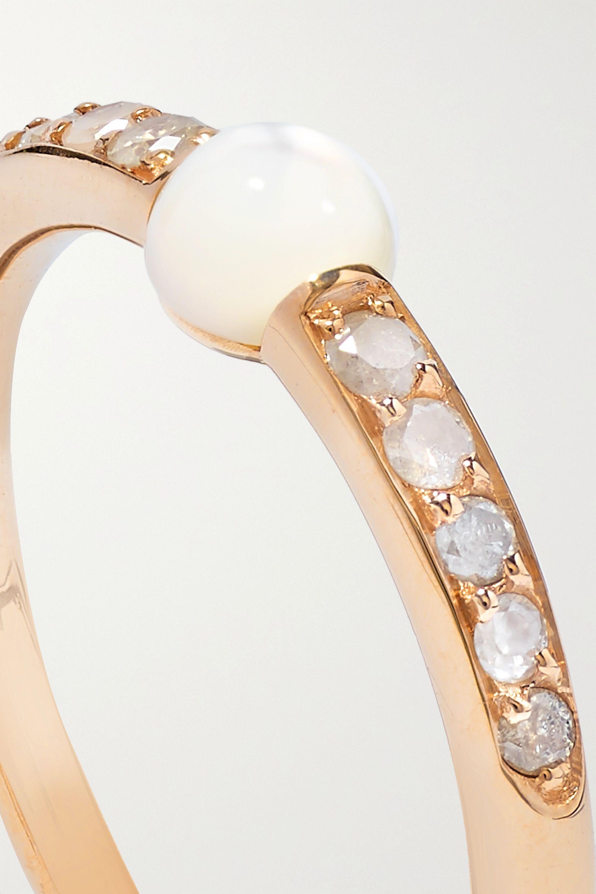 Pomellato M'ama non M'ama 18-karat rose gold, mother-of-pearl and diamond ring