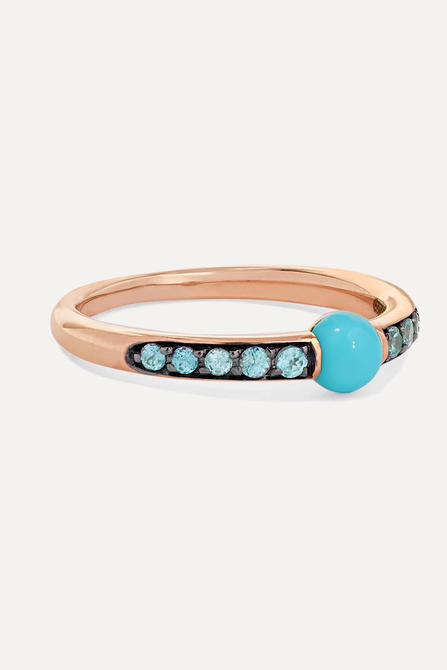 Pomellato 18-karat rose gold, turquoise and zircon ring