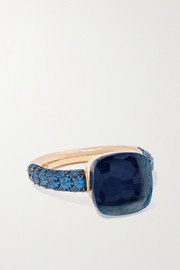 Pomellato Nudo 18-karat rose and white-gold, lapis lazuli and topaz ring