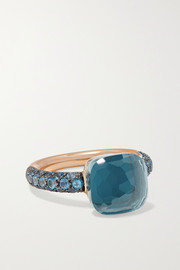 Pomellato Nudo 18-karat rose and white gold, turquoise and topaz ring