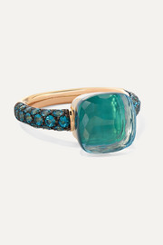 Nudo 18-karat rose and white gold, agate and topaz ring
