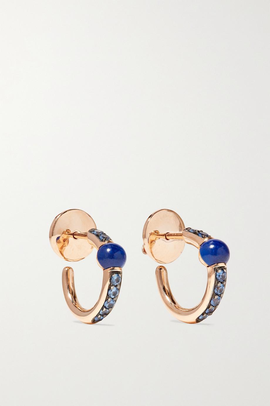 Pomellato M'ama non M'ama 18-karat rose gold, lapis lazuli and sapphire hoop earrings