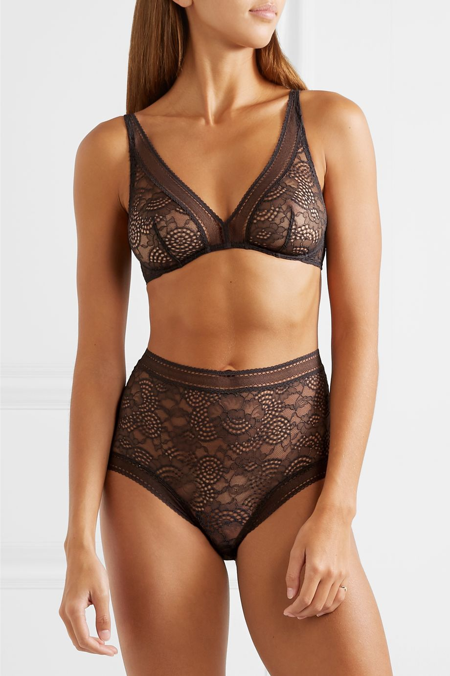 Eres Belle de Nuit Chagrin stretch-lace soft-cup triangle bra