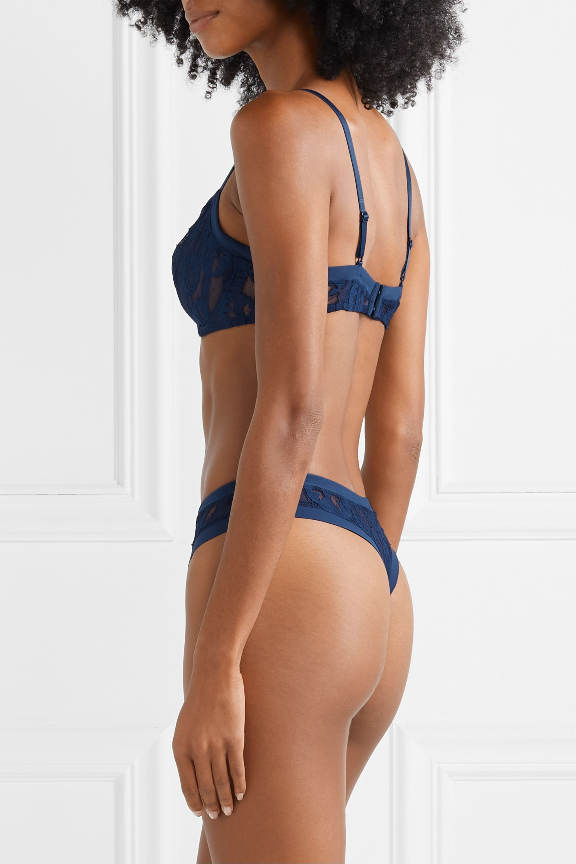 Eres Jane satin-trimmed stretch-lace thong