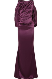 Talbot Runhof Cold-shoulder cape-effect ruched satin gown