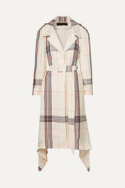 Roland Mouret Victor draped checked crepe de chine trench coat