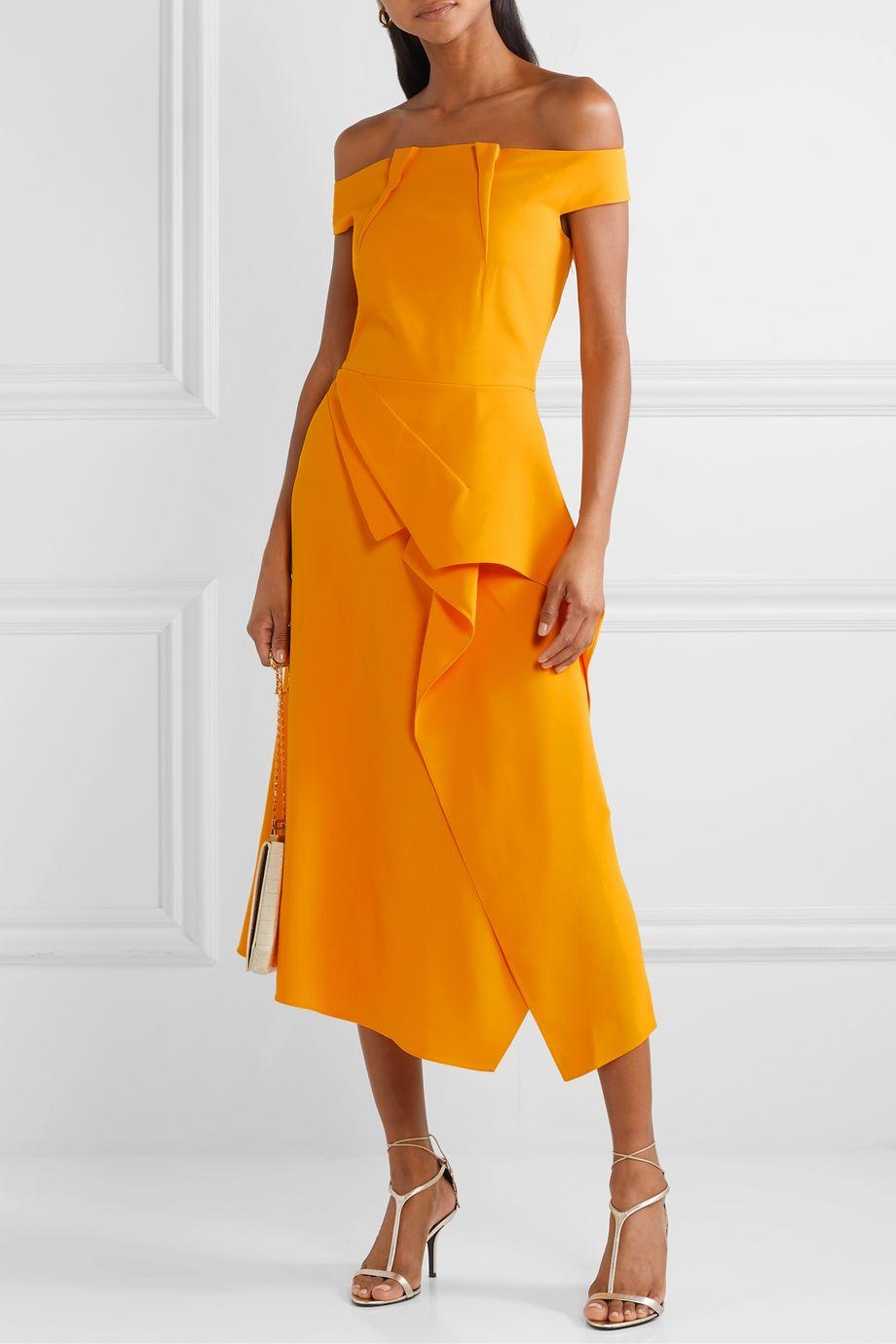 Roland Mouret Arch off-the-shoulder draped crepe midi dress