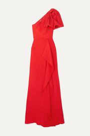 Belhaven one-shoulder bow-detailed silk-jacquard gown