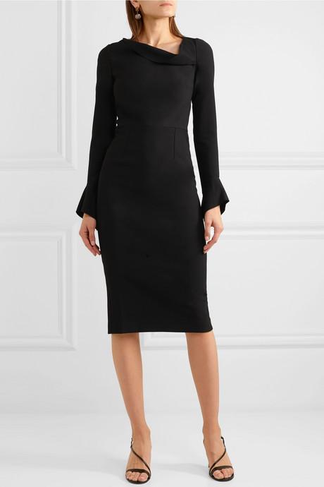Liman fluted crepe dress