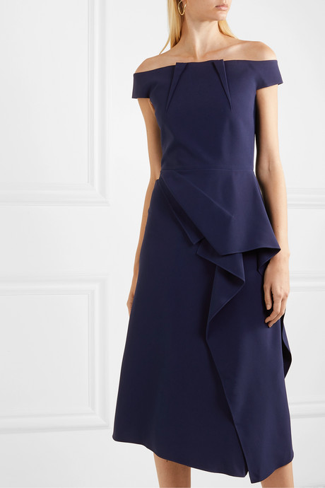 Arch off-shoulder draped crepe dress