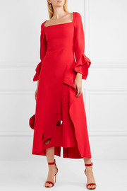 Trinity draped cutout wool-crepe midi dress
