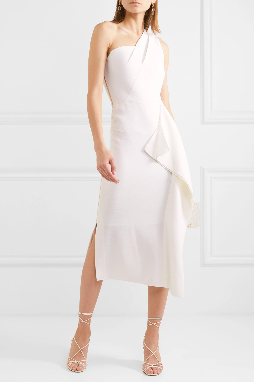 White Rivoli one-shoulder draped wool-crepe midi dress   Roland Mouret   NET-A-PORTER