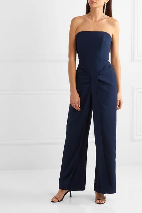 Monaco wrap-effect crepe jumpsuit