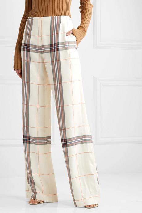 Tayport checked woven wide-leg pants