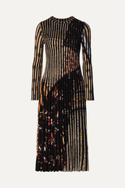 Etro Pleated jacquard-knit midi dress