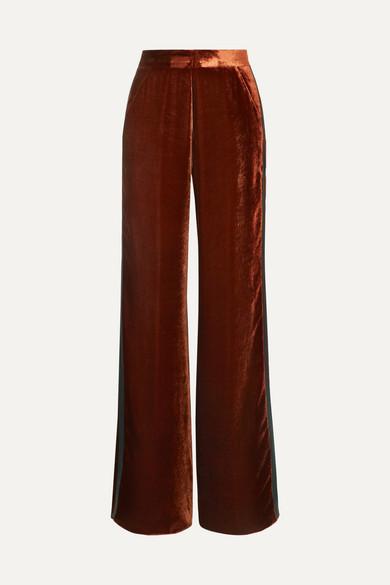 Etro Silk Satin-trimmed Velvet Wide-leg Pants In Copper