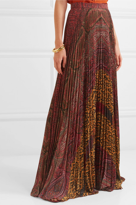 Printed pleated crepe de chine maxi skirt