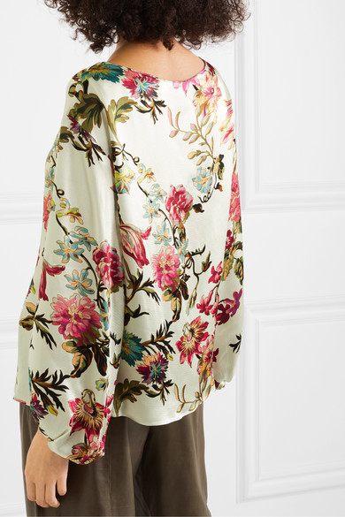 Floral Print Washed Satin Top by Etro