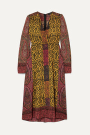 Etro Printed crepe de chine wrap dress
