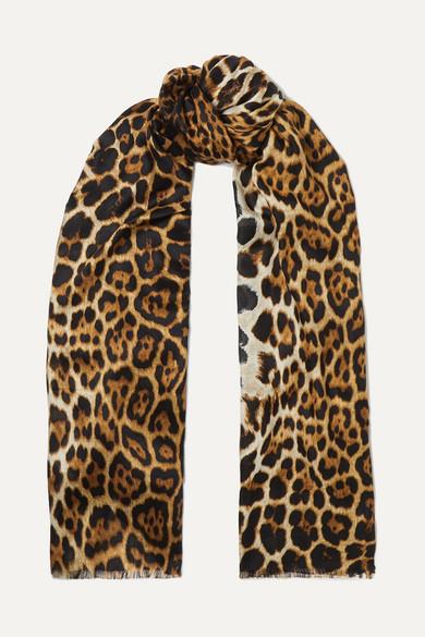 Leopard Print Silk Voile Scarf by Saint Laurent