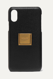 SAINT LAURENT Embellished textured-leather iPhone X and XS case
