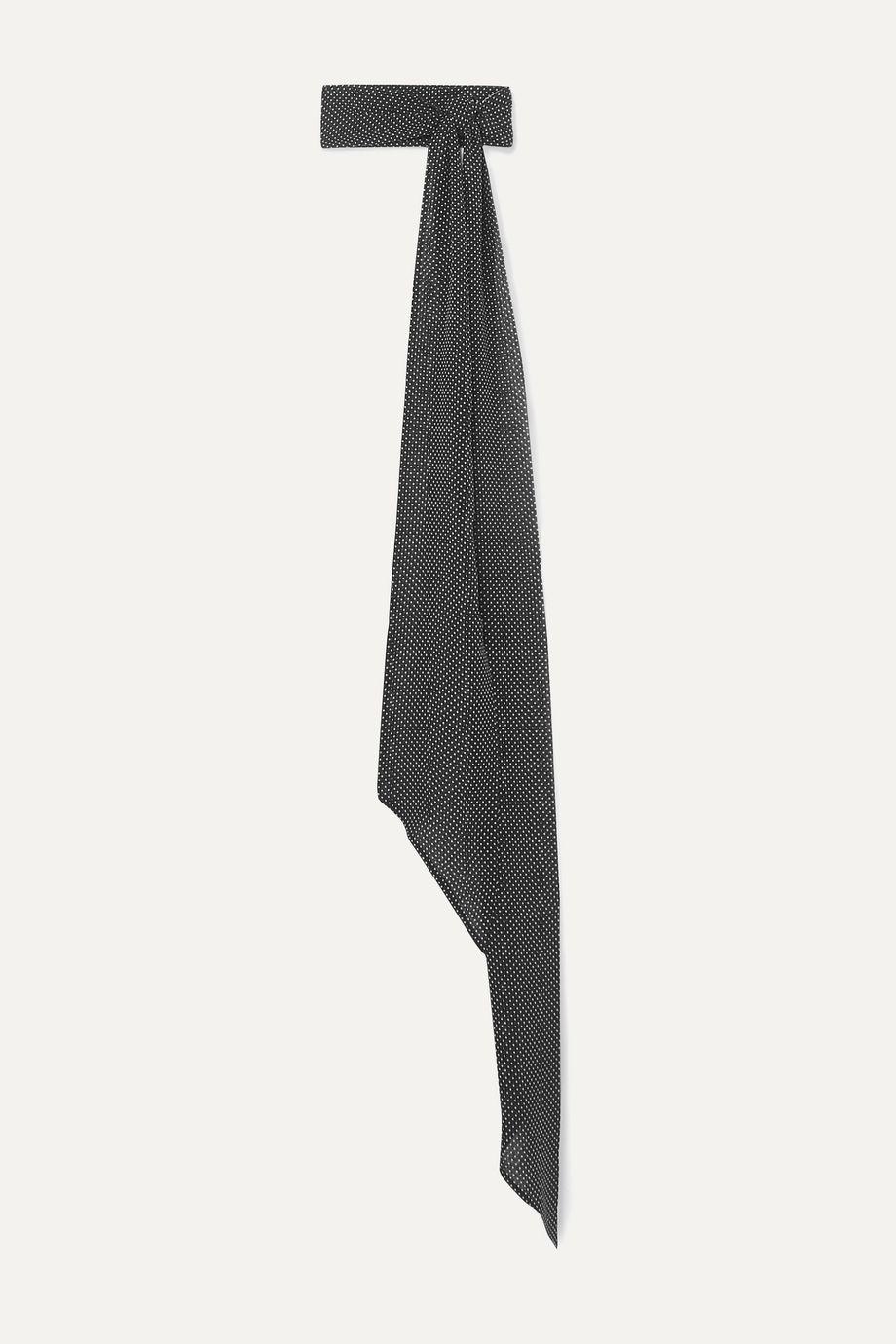 SAINT LAURENT Polka-dot silk-chiffon scarf