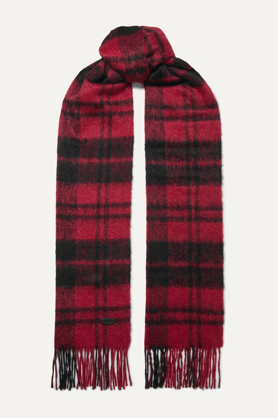 SAINT LAURENT Fringed checked wool-blend scarf