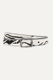 SAINT LAURENT Zebra-print calf hair belt